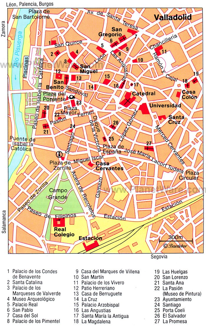 Valladolid Map - Tourist Attractions
