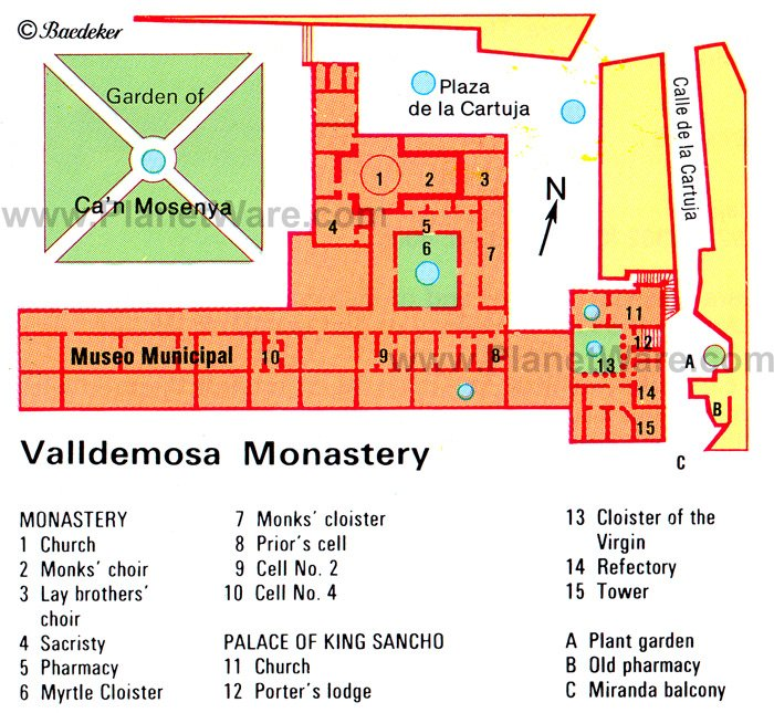 Valldemosa Monastery - Floor plan map