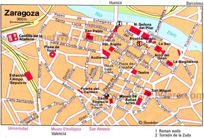 Zaragoza Map - Tourist Attractions