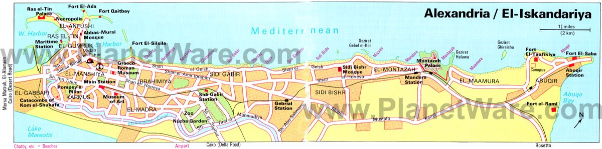 Alexandria Map - Tourist Attractions