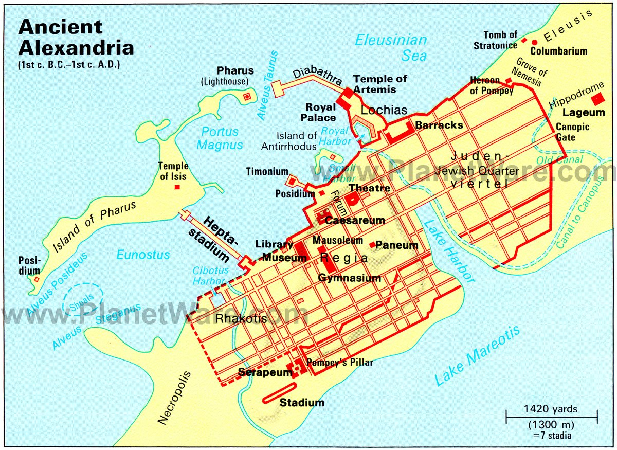 Ancient Alexandria Map - Tourist Attractions
