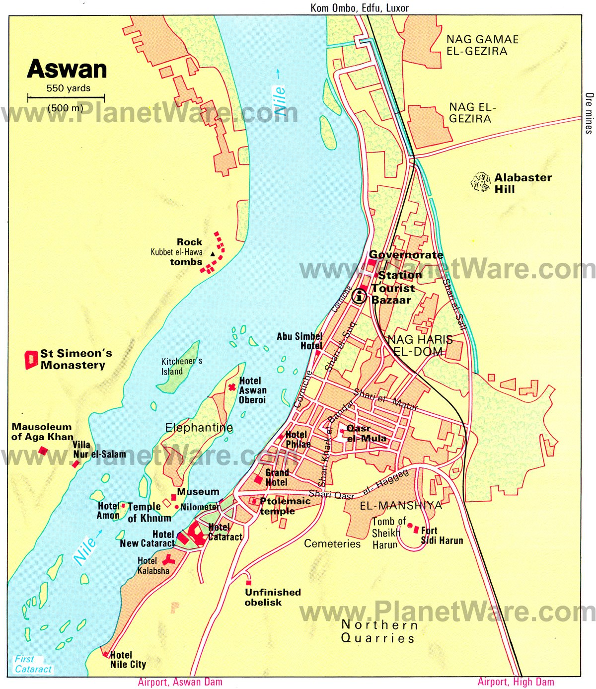 Aswan Map - Tourist Attractions