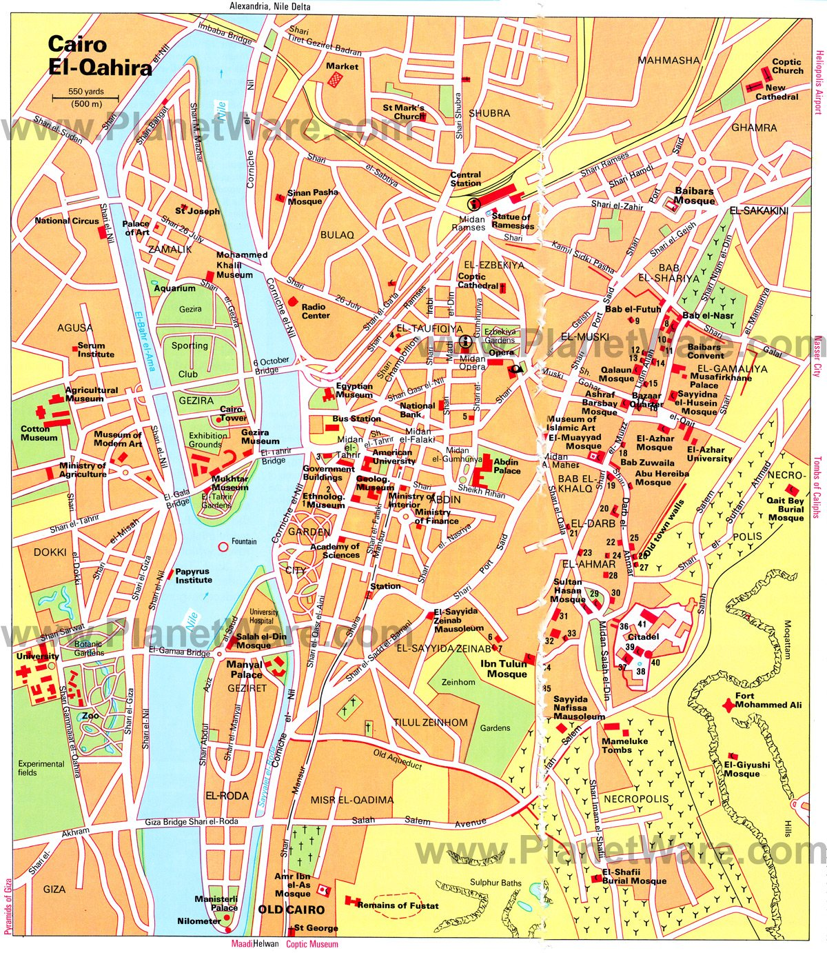 Cairo Map - Tourist Attractions