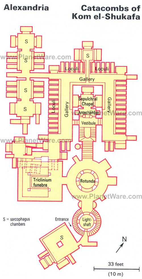 Catacombs of Kom el-Shukafa - Floor plan map