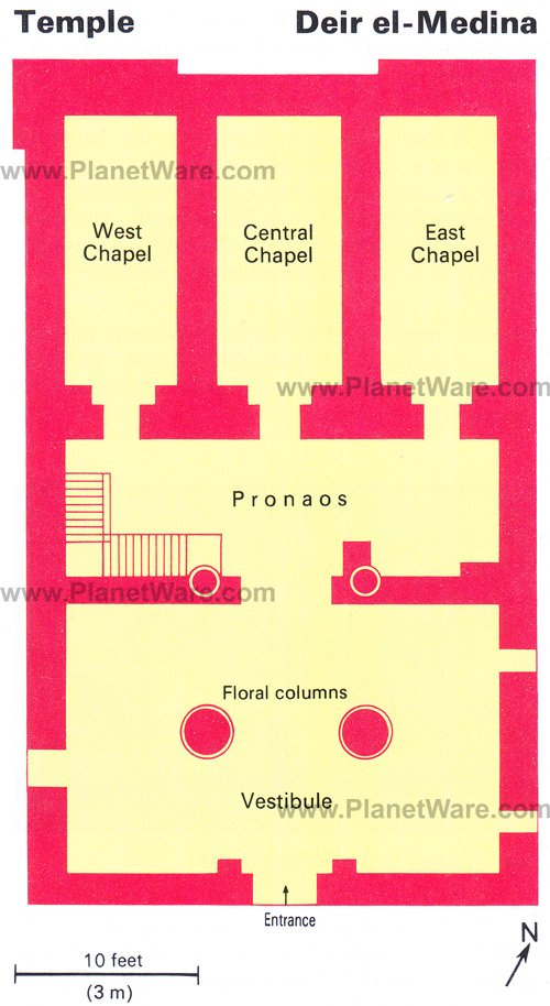 Deir el-Medina Temple - Floor plan map