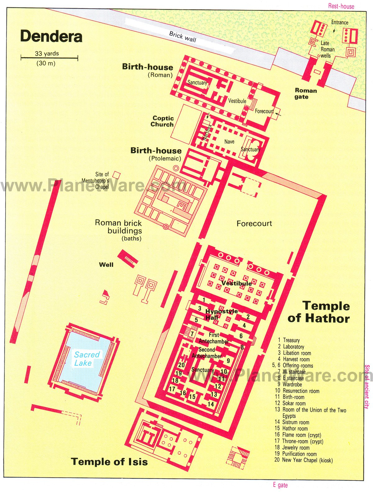 Dendera - Temple of Hathor - Floor plan map
