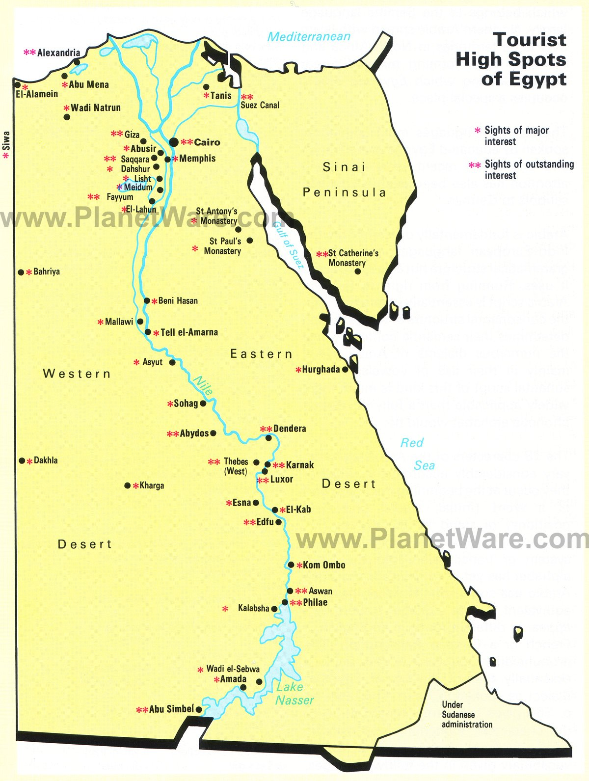 Map of Populat Tourist Spots in Egypt – Egypt Tourist Attractions Map