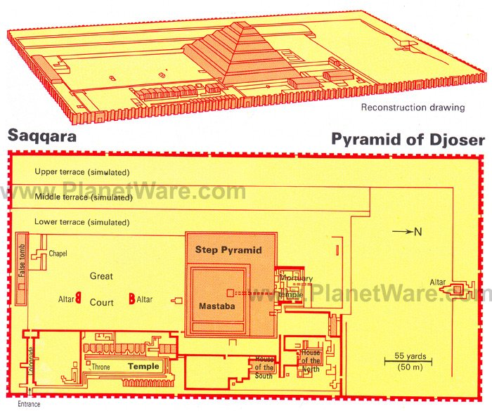 Saqqara - Pyramid of Djoser - Floor plan map