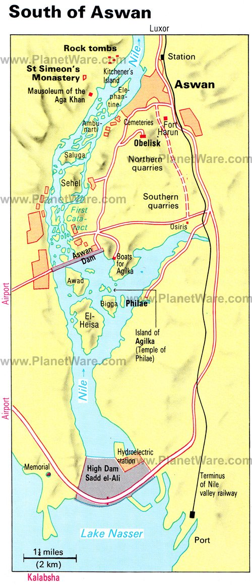 South of Aswan Map - Tourist Attractions