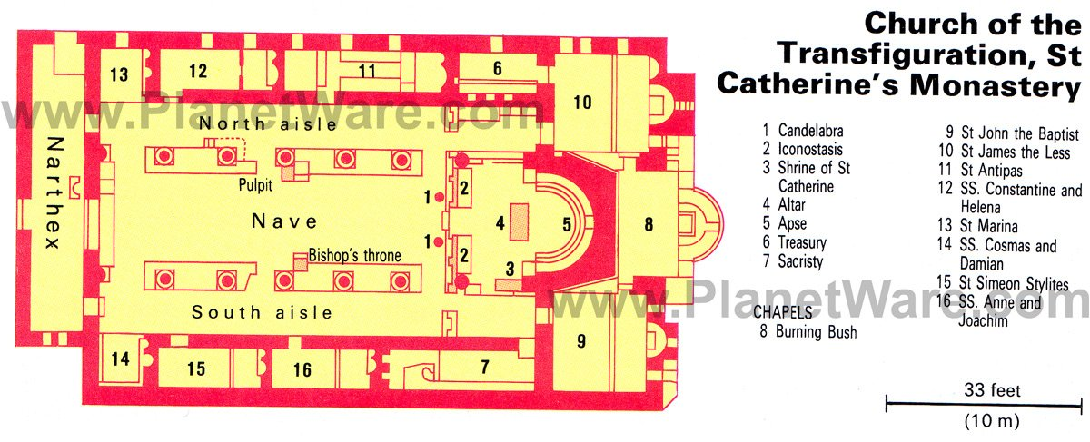 St Catherine's Monastery - Church of the Transfiguration - Floor plan map