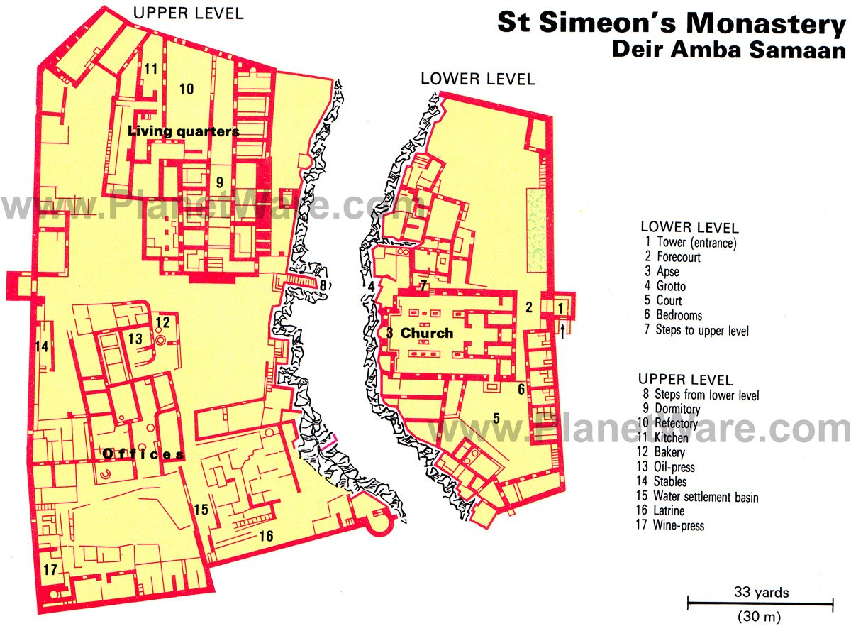 St Simeon's Monastery - Floor plan map