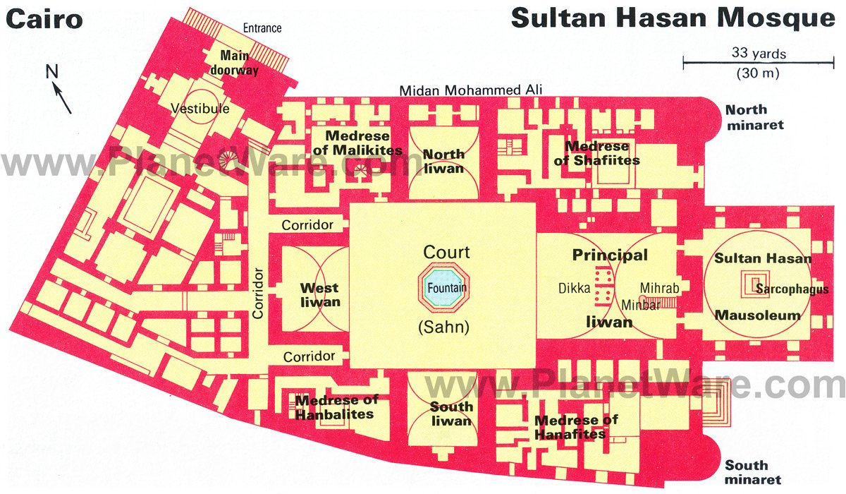 Sultan Hasan Mosque - Floor plan map