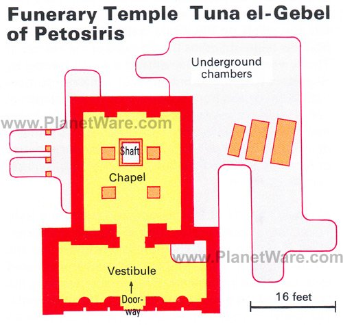 Map of Tuna el-Gebel - Funerary Temple of Potosiris