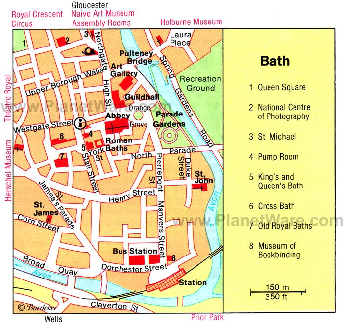 Bath Map - Tourist Attractions