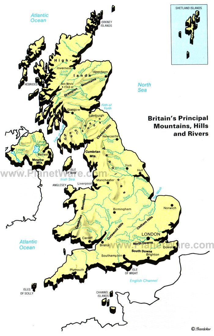 Britain's Principal Mountains, Hills and Rivers Map