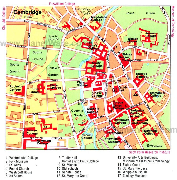 Cambridge Map - Tourist Attractions