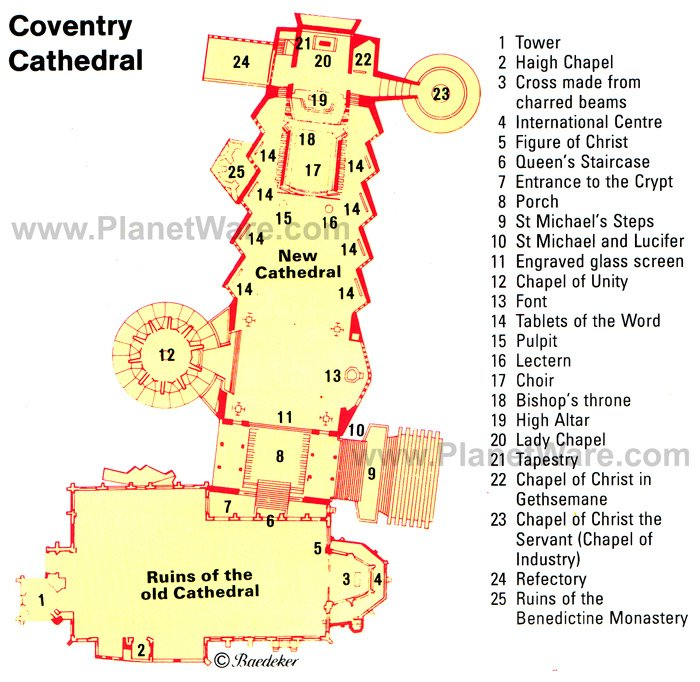 Coventry Cathedral - Floor plan map