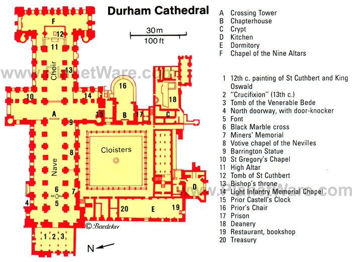 Durham Cathedral - Floor plan map