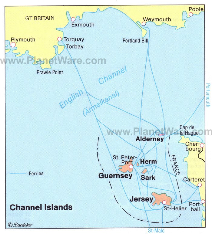 Islands of The English Channel Map - Tourist Attractions