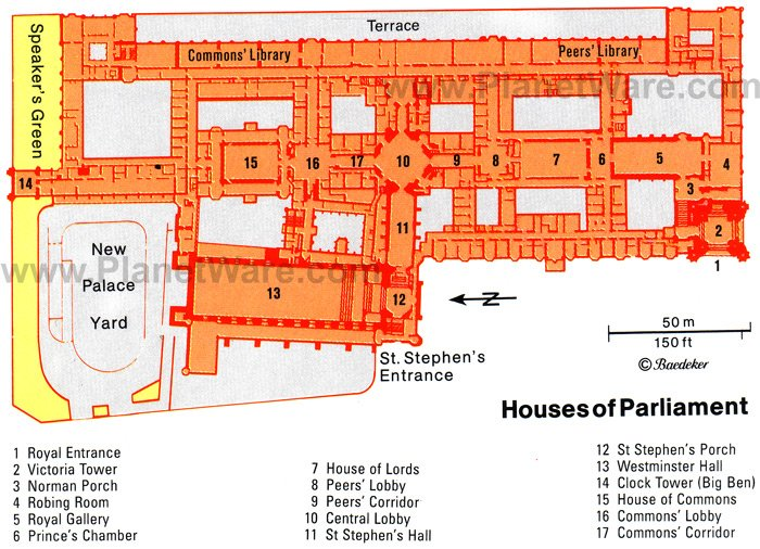 London Houses of Parliament - Floor plan map