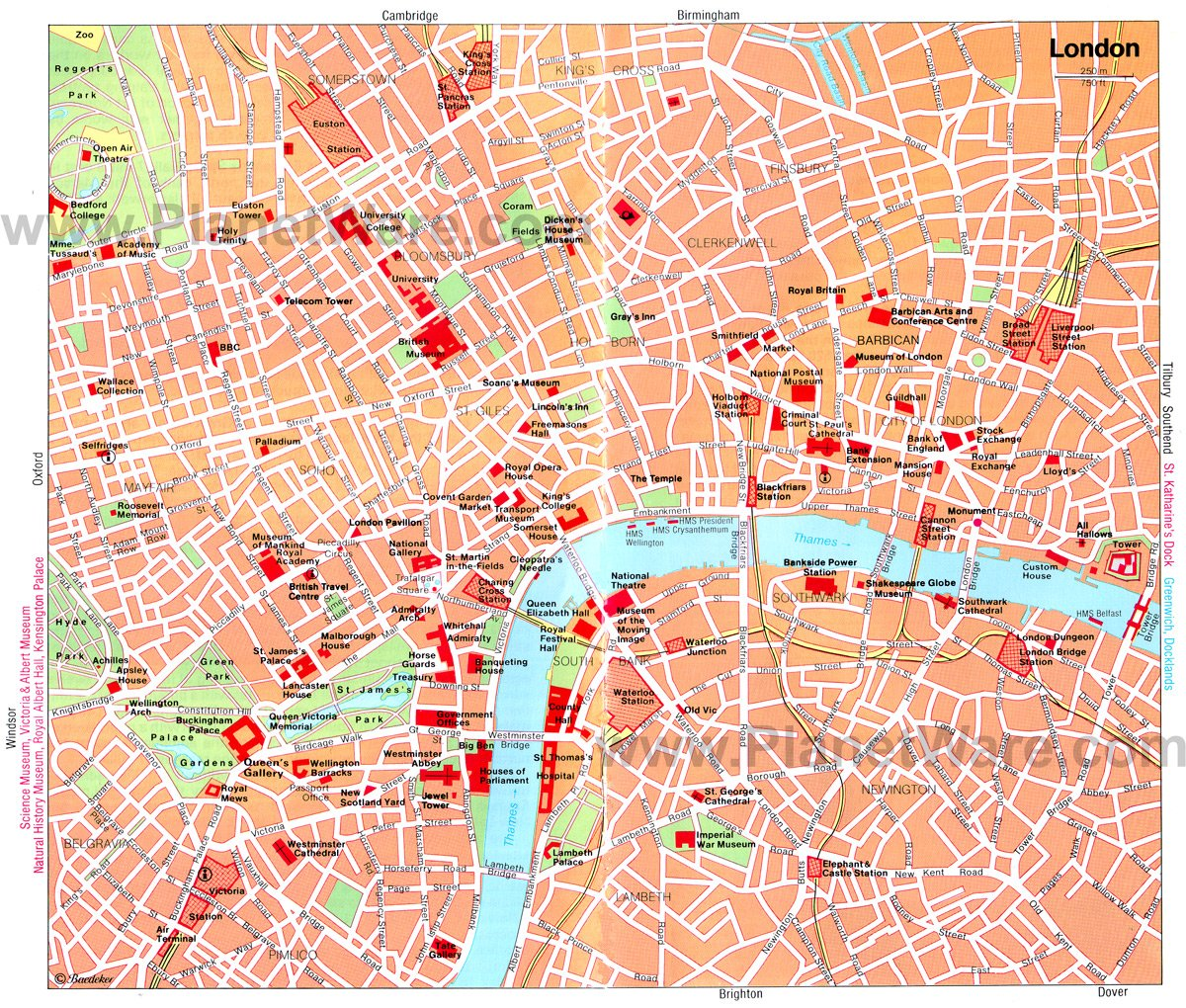 london map tourist attractions