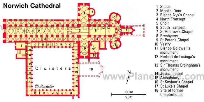 Norwich Cathedral - Floor plan map