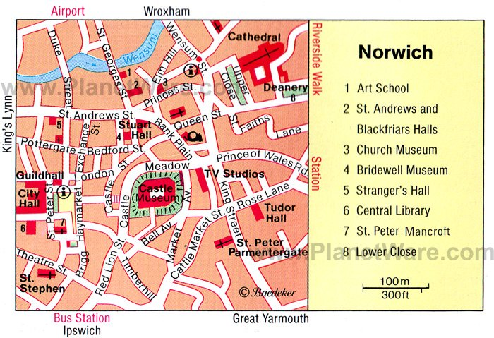 Norwich Map - Tourist Attractions