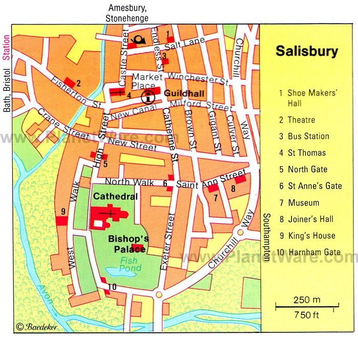 Salisbury Map - Tourist Attractions