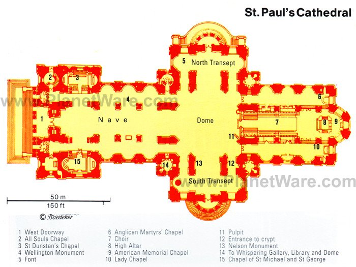 St Paul's Cathedral - Floor plan map