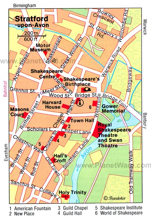 Stratford-upon-Avon Map - Tourist Attractions