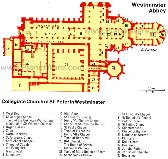 Westminster Abbey - Floor plan map