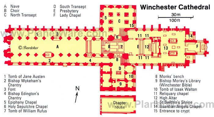 Winchester Cathedral - Floor plan map