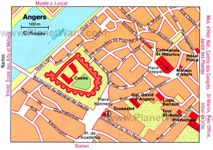 Angers Map - Tourist Attractions