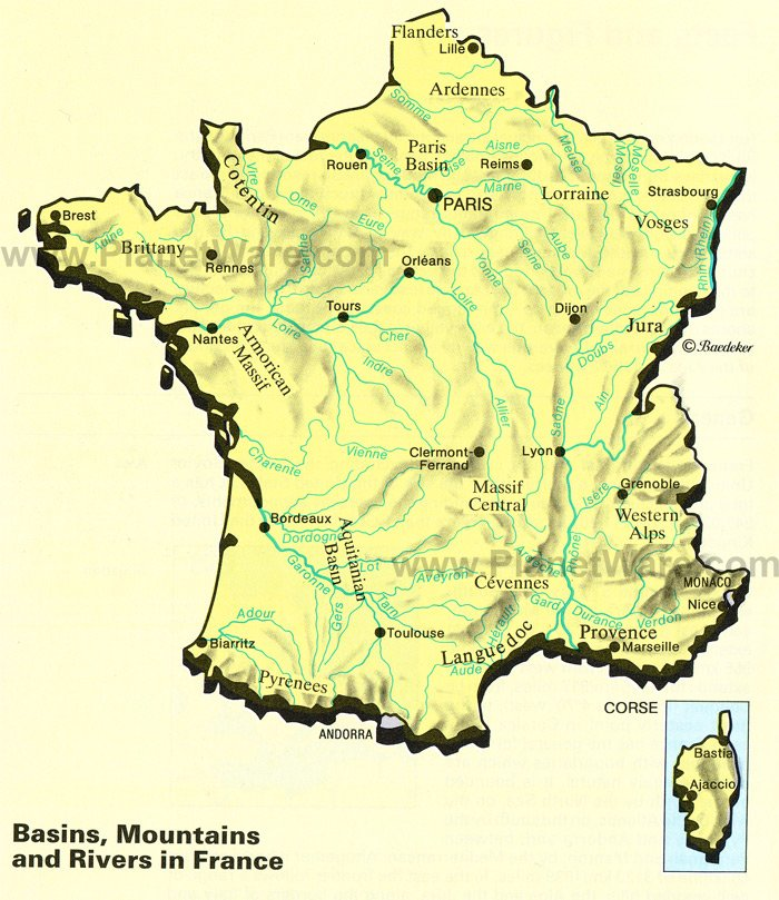 Basins, Mountains and Rivers in France Map