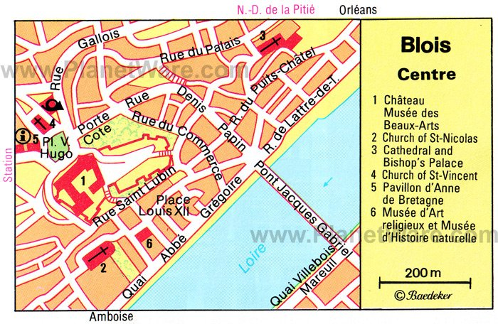Blois Center Map - Tourist Attractions