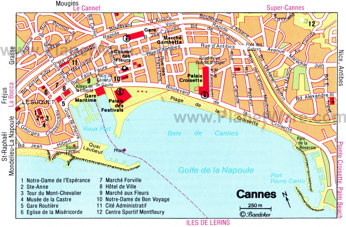 Cannes Map - Tourist Attractions