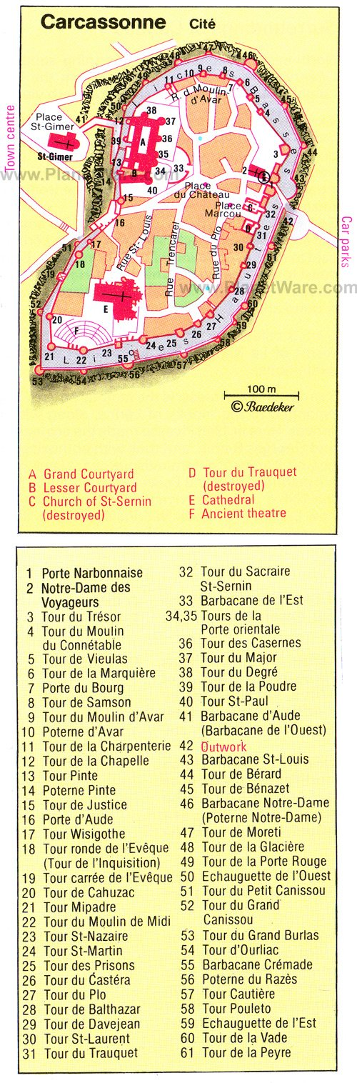 Carcassone Map - Tourist Attractions