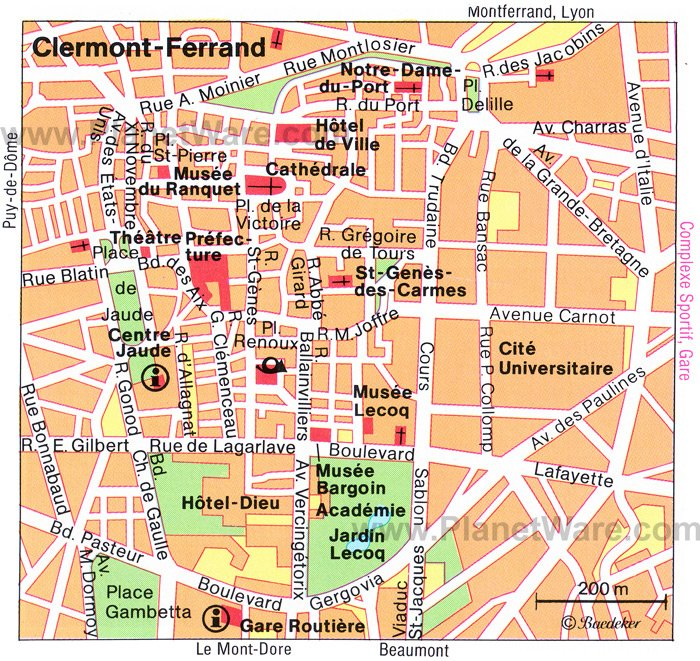 Clermont-Ferrand Map - Tourist Attractions