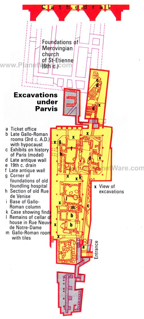 Excavations under Parvis - Map