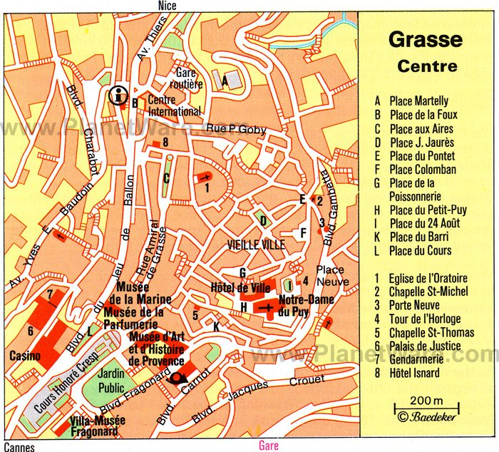 Grasse Center Map - Tourist Attractions
