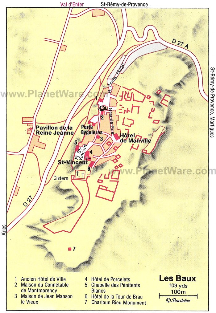 Les Baux Map - Tourist Attractions