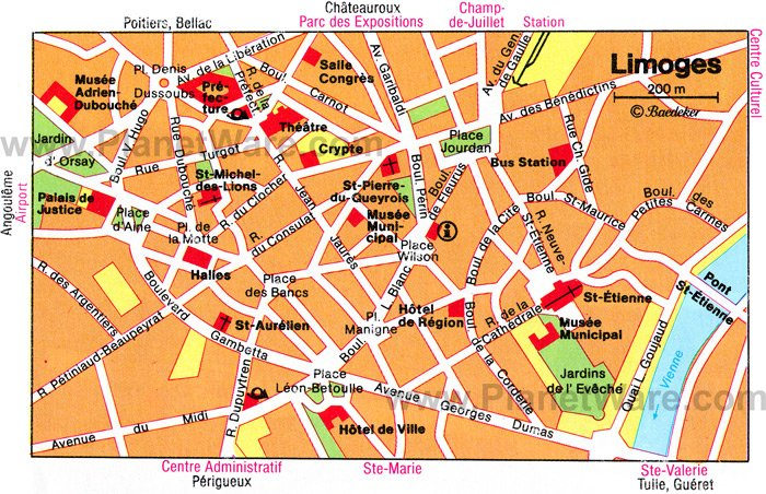 Limoges Map - Tourist Attractions