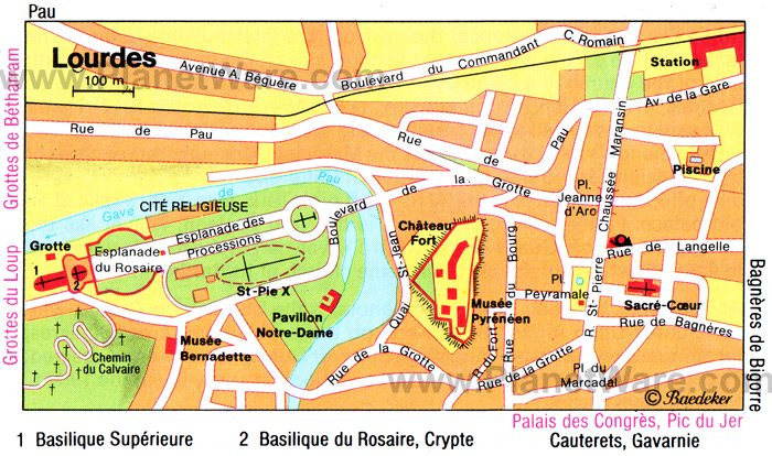 Lourdes map attractions