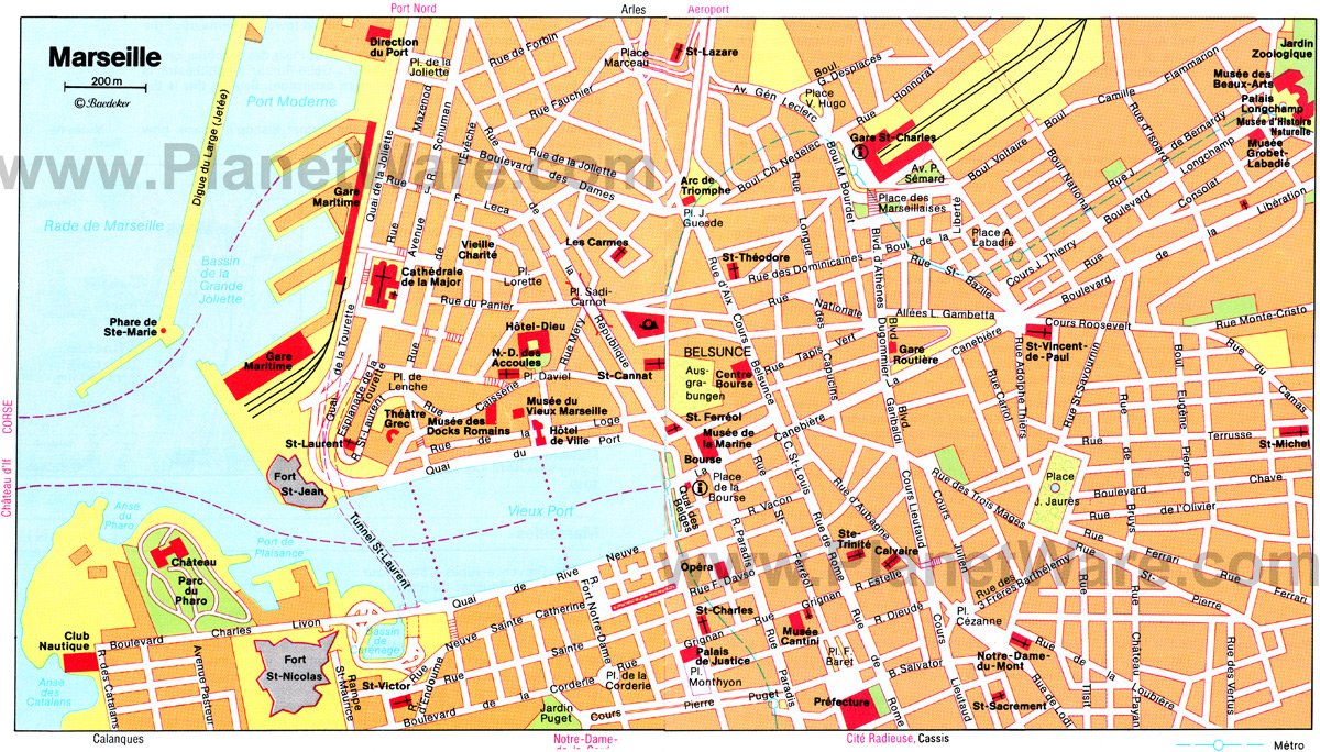 Marseilles Map - Tourist Attractions