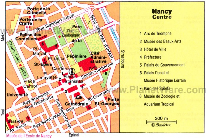 Nancy Center Map - Tourist Attractions