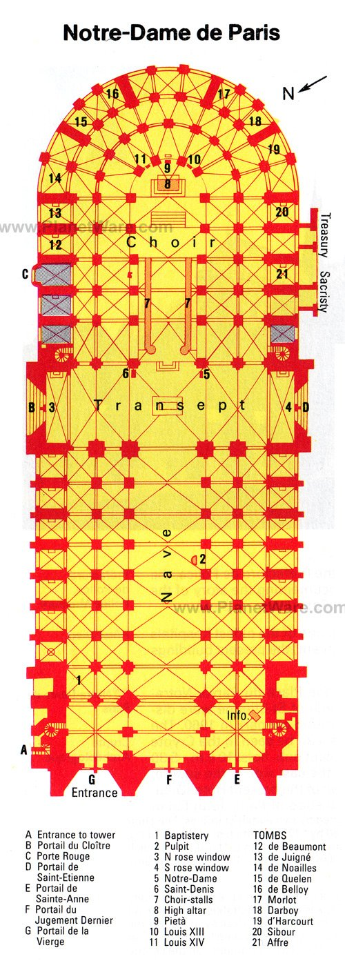 Notre-Dame de Paris - Floor plan map