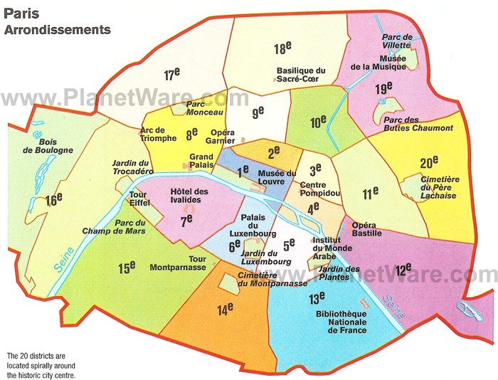 Paris Arrondissements Map - Tourist Attractions