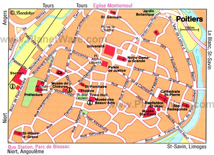 Poitiers Map. Poitiers sits high above the rivers Clain and Boivre with many