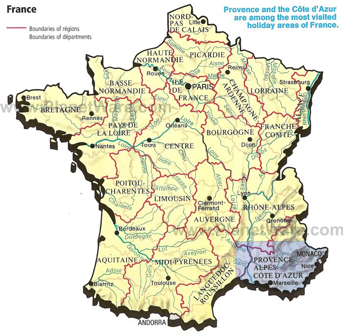Some attractions within Regions in France Map:
