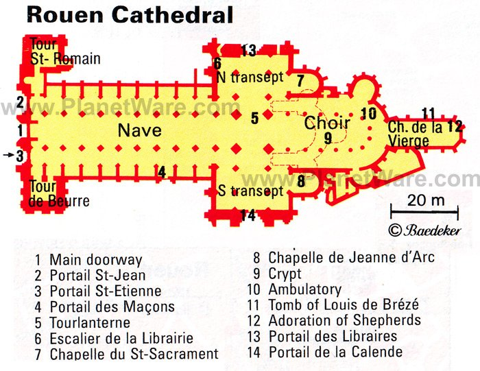 Rouen Cathedral - Floor plan map